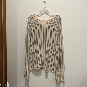 cream and grey stripped knit tunic top.